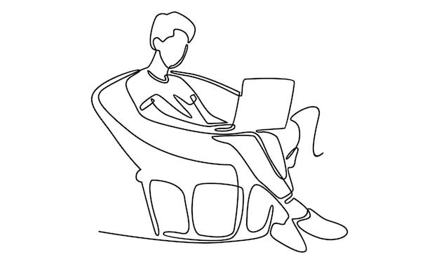노트북 일러스트레이션으로 작업하는 남자의 연속 라인