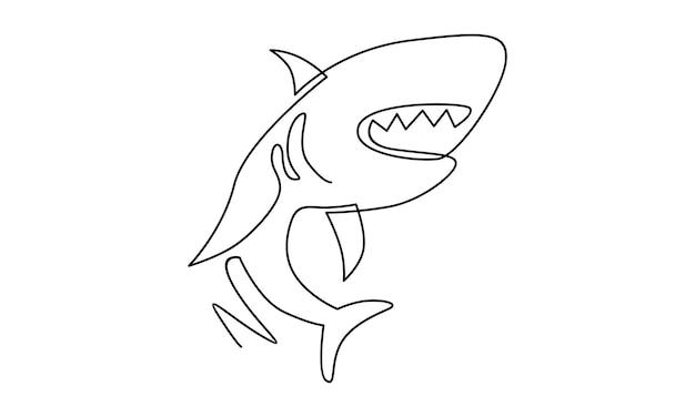 Непрерывная линия иллюстрации акулы