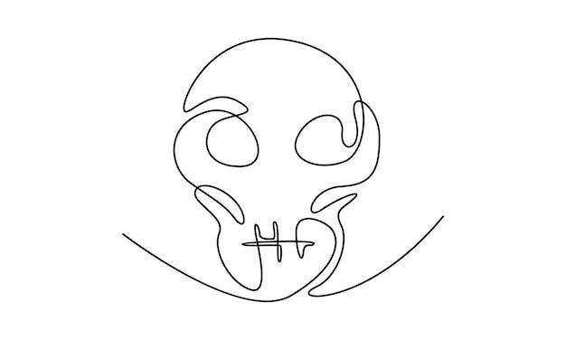 Непрерывная линия иллюстрации черепа