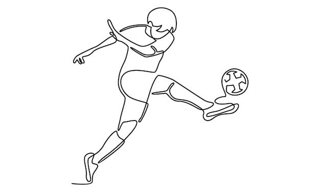 サッカー選手のイラストの実線