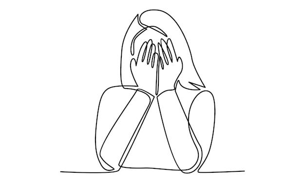 女性の連続線は手のひらの手のイラストで彼女の顔を閉じます