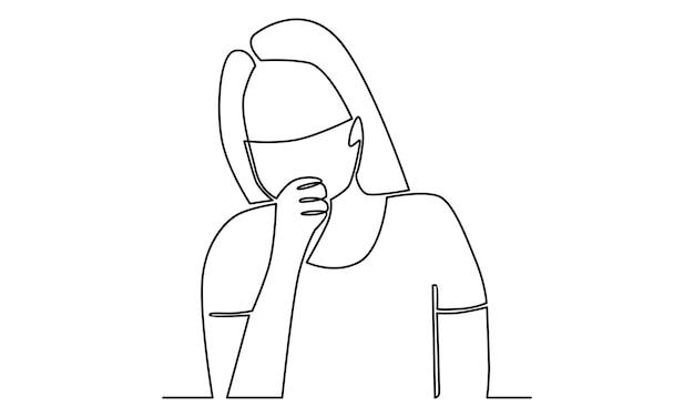 마스크 삽화로 기침하는 여성의 연속 라인