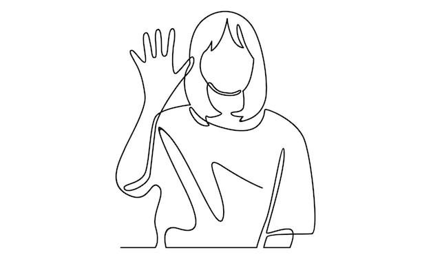手のイラストを振る女性ハロージェスチャーの連続線