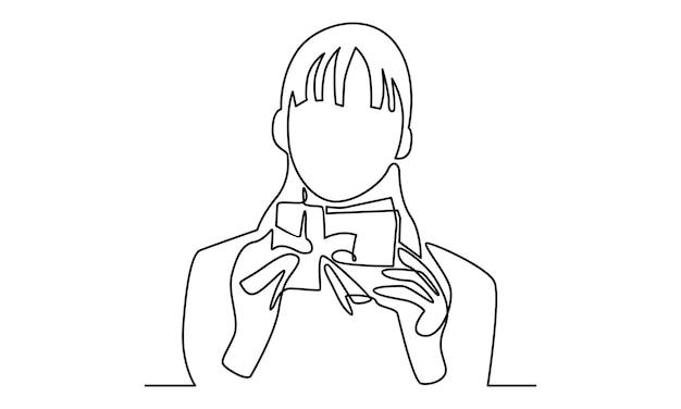 Непрерывная линия женщины держит иллюстрацию подарочной коробки