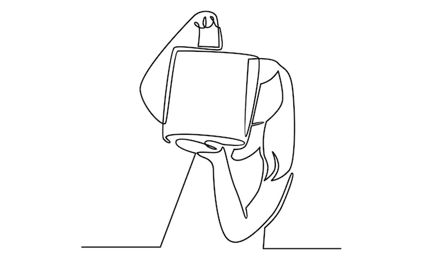 Непрерывная линия женщины, держащей иллюстрацию бумажного мешка для покупок