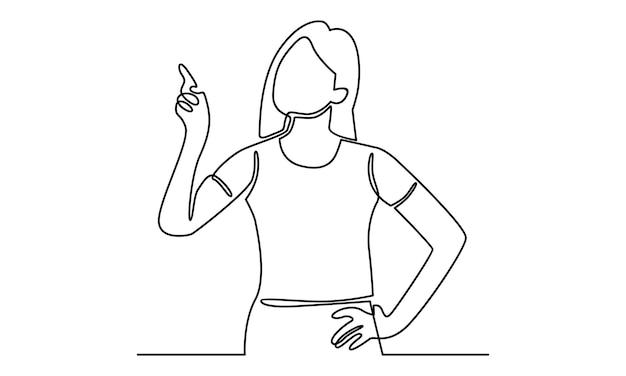 手のイラストを指している女性の連続線