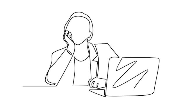Непрерывная линия женщины, работающей с иллюстрацией ноутбука