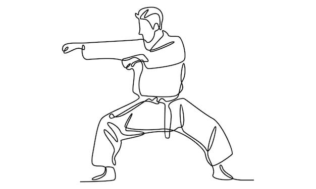 Непрерывная линия иллюстрации каратэ молодого человека