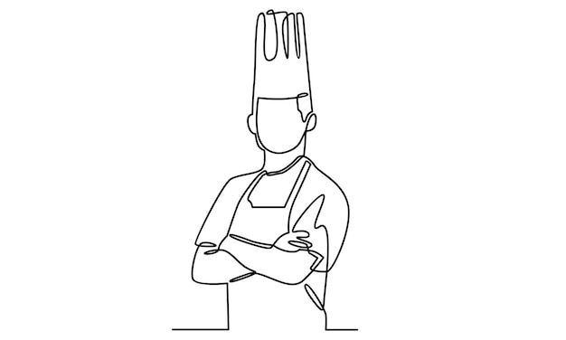 Continuous line of professional chef illustration