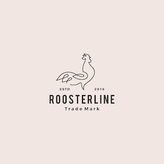 Continuous line rooster logo