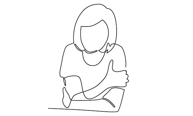 Continuous line of sad depressed woman illustration