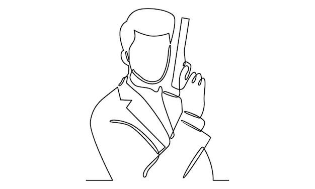 Continuous line of security guard with a gun illustration