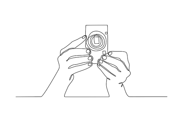 Continuous line shooting hand vector