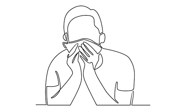 Continuous line of sick young man holding tissue sneezing into handkerchief illustration