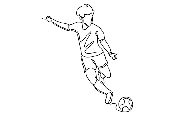 Continuous line of soccer player illustration
