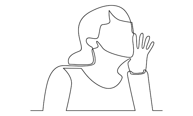 Continuous line of woman calling shouting loud illustration