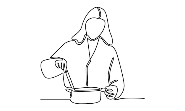 Continuous line of woman cooking illustration