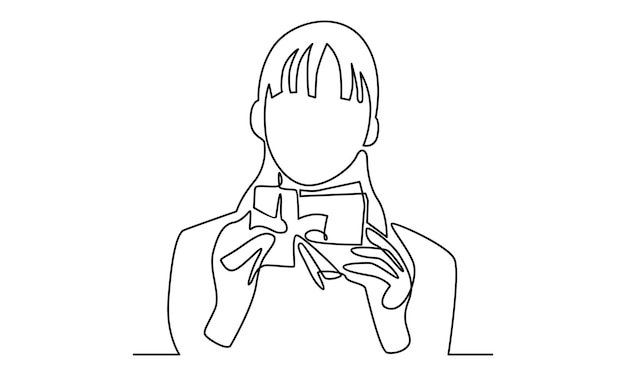 Continuous line of woman hold a gift box illustration