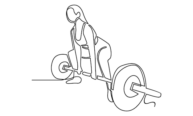 Continuous line of woman holding barbell illustration