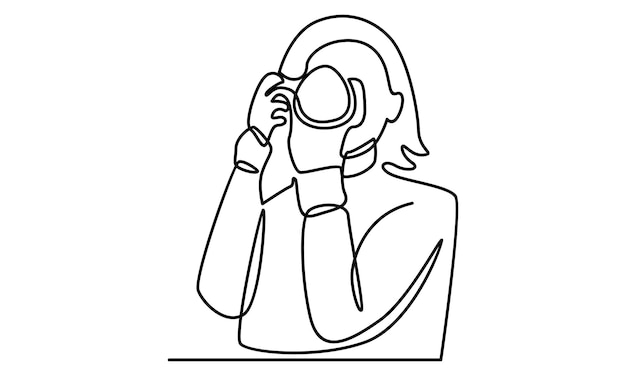 Continuous line of woman holding digital camera illustration