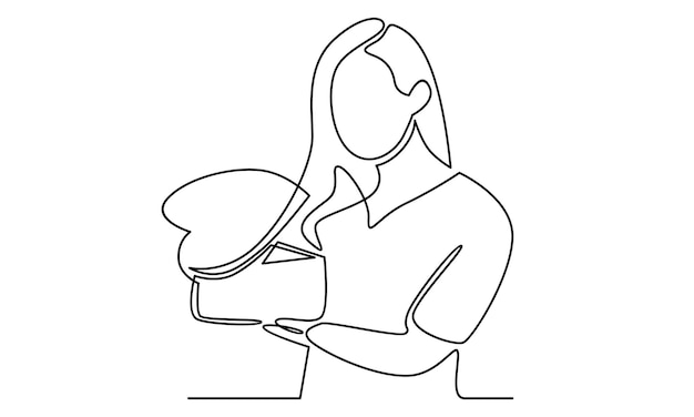 Continuous line of  woman holding a gift box illustration