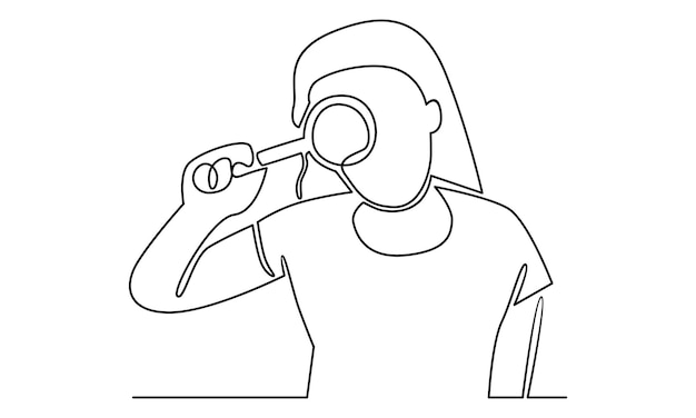 Continuous line of woman holding a magnifying glass illustration