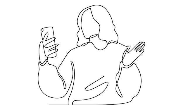 Continuous line of woman looks into her smartphone illustration