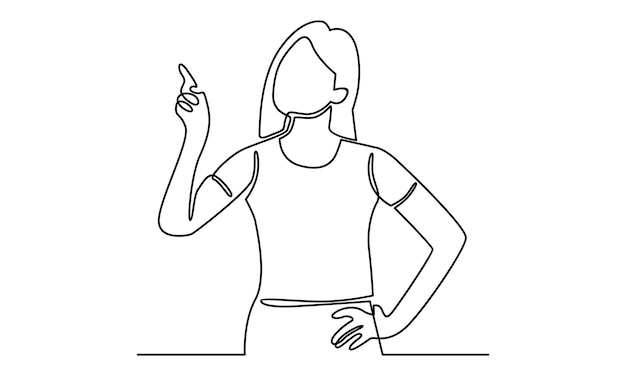 Continuous line of woman pointing away hand illustration