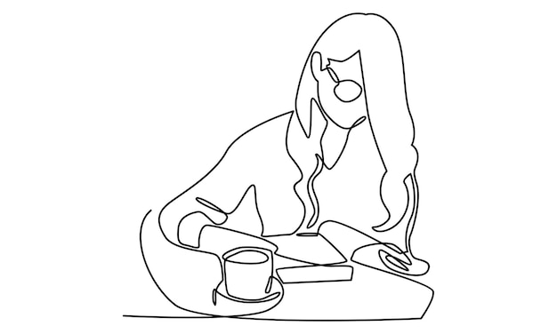 Continuous line of woman reading a book illustration