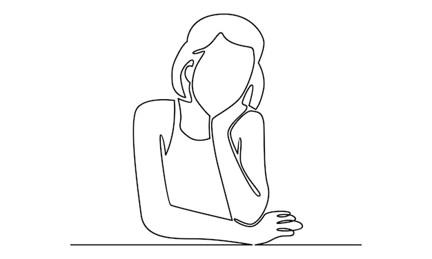 Continuous line of woman sleeping illustration