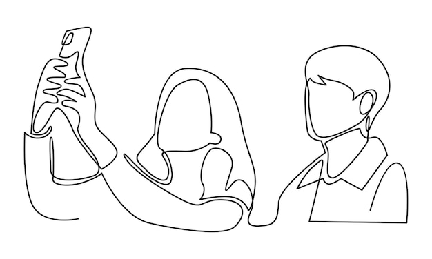 Continuous line of young man and woman making selfie illustration