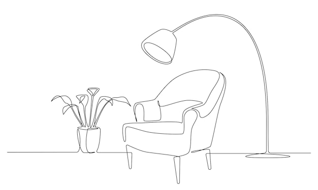 Continuous one line drawing of armchair with lamp and plant scandinavian stylish furniture in simple...