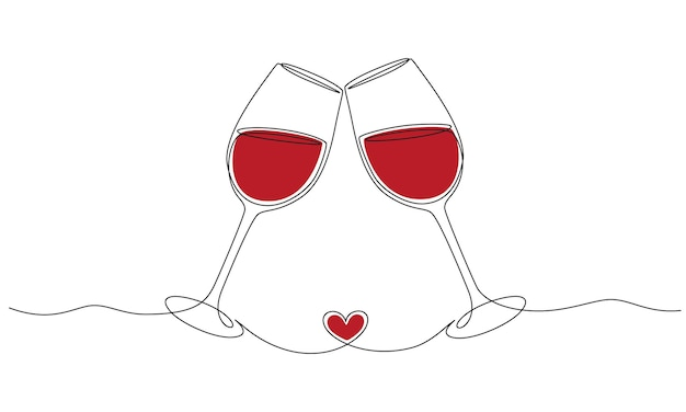 Continuous one line drawing of cheers two glasses with red wine romantic toast concept