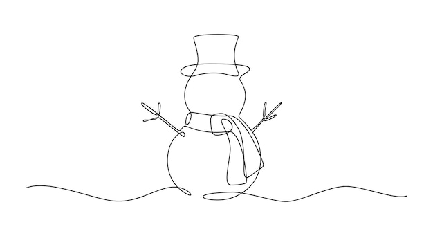 Continuous one line drawing of christmas snowman in hat with scarf cute winter character in doodle