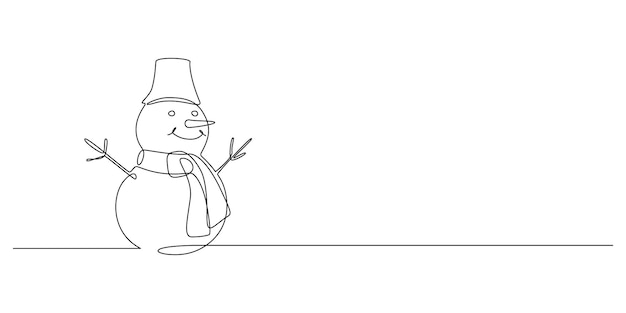 Continuous one line drawing of christmas snowman in hat with scarf funny winter character in doodle