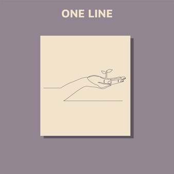 Continuous one line drawing hand showing growing plant