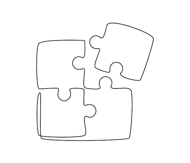 Continuous one line drawing of a joined pieces of puzzle game group teamwork cooperation and busines...