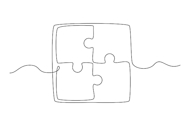 Continuous one line drawing of a joined pieces of puzzle game teamwork concept vector illustratio