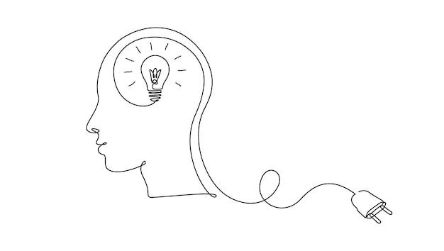 창의적인 아이디어 교육의 플러그 개념과 머리 내부에 연속 한 줄 그리기 전구