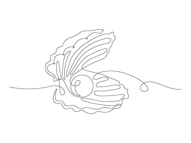 연속적인 한 선 그리기 천연 열린 진주 조개를 닫습니다. 흑백 색상의 현대적인 미니멀리즘 ison 또는 로고. 벡터 일러스트 레이 션