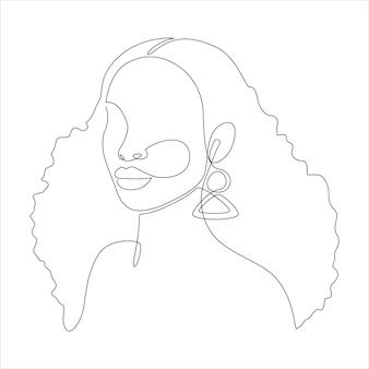 흰색 배경에 곱슬머리 아프로 헤어스타일을 한 아프리카계 미국인 여성의 연속적인 한 줄 그림