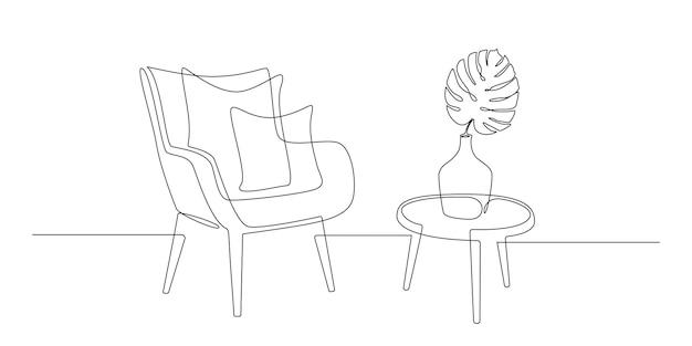 Сплошной однолинейный рисунок кресла с подушками и стола с вазой со скандином из листьев монстеры ...