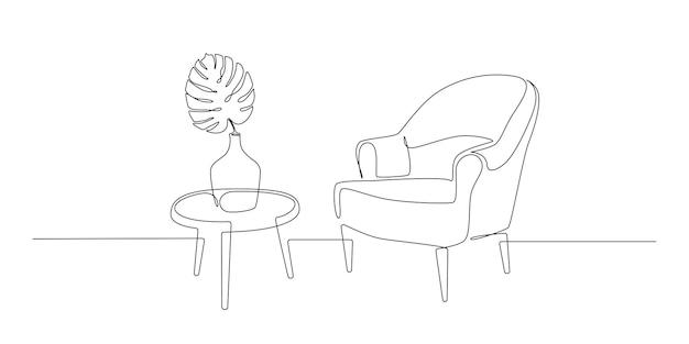 Сплошной однолинейный рисунок кресла со столом и вазы с листом монстера в скандинавском стиле ...