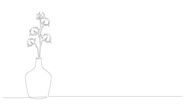 ガラスの花瓶のスタイリッシュな花の植物の美しいマグノリアの花の連続一線画...