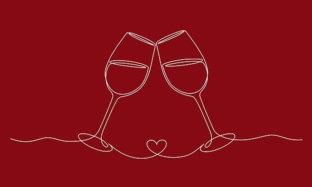 Непрерывный рисунок одной линии ура, два бокала романтической концепции тоста с формой сердца в линейном ...