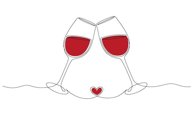 Непрерывный рисунок одной линии ура, два бокала с концепцией романтического тоста с красным вином