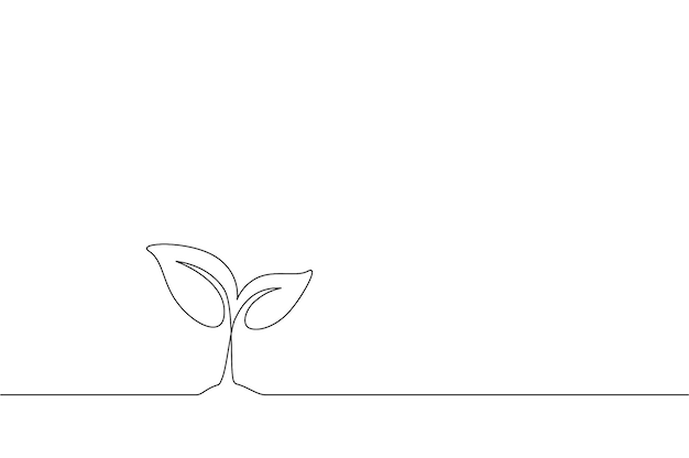 白い背景の上に成長している小さな植物の連続一線画