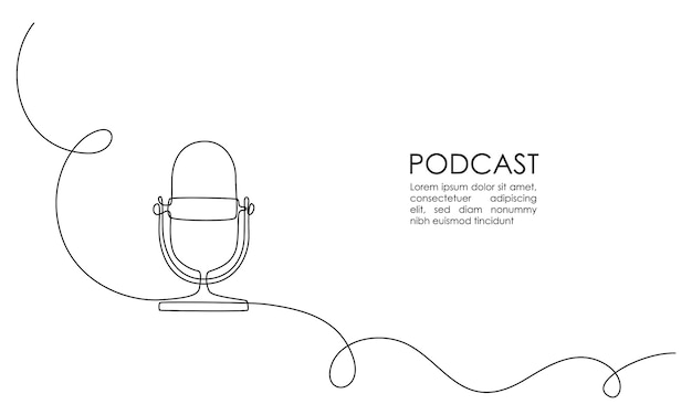 Непрерывный однолинейный рисунок микрофона подкаста с надписью podcast на белом фоне