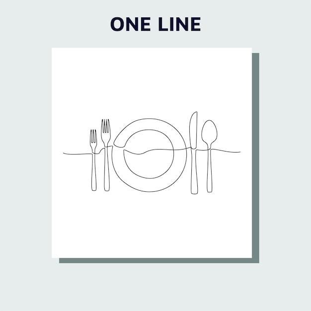 Непрерывный однолинейный рисунок логотипа ресторана