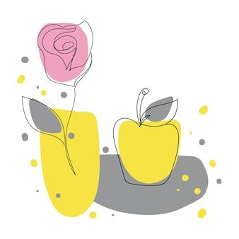 Непрерывный рисунок одной линии цветка розы и яблока. цветная векторная иллюстрация на белом фоне. яркий натюрморт в современном стиле минимализма.